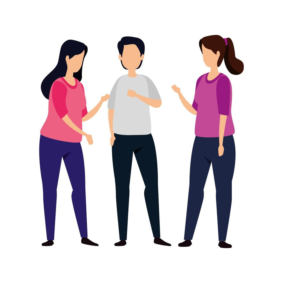 group of women with man avatar character vector