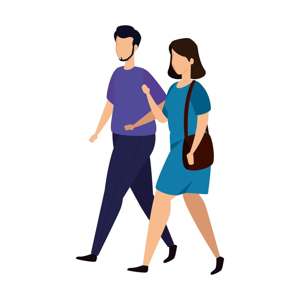 young couple avatar character icon vector