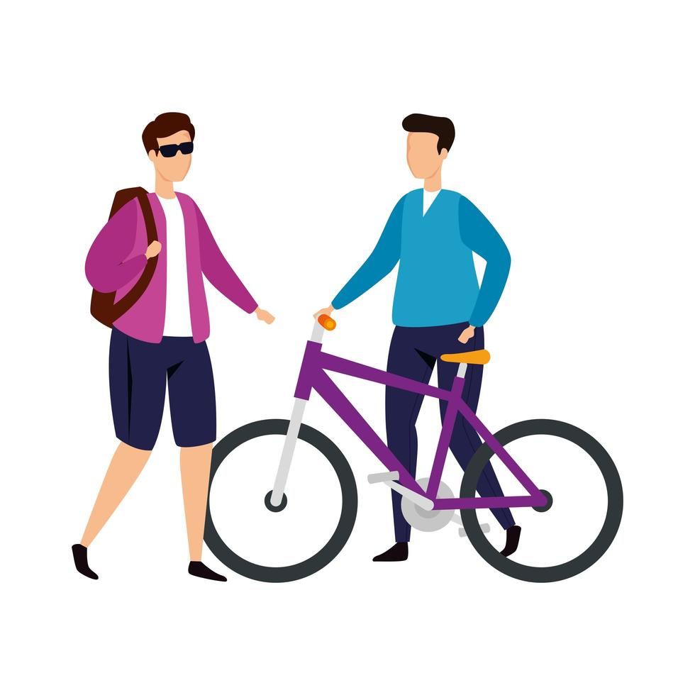 young men with bike avatar character icon vector