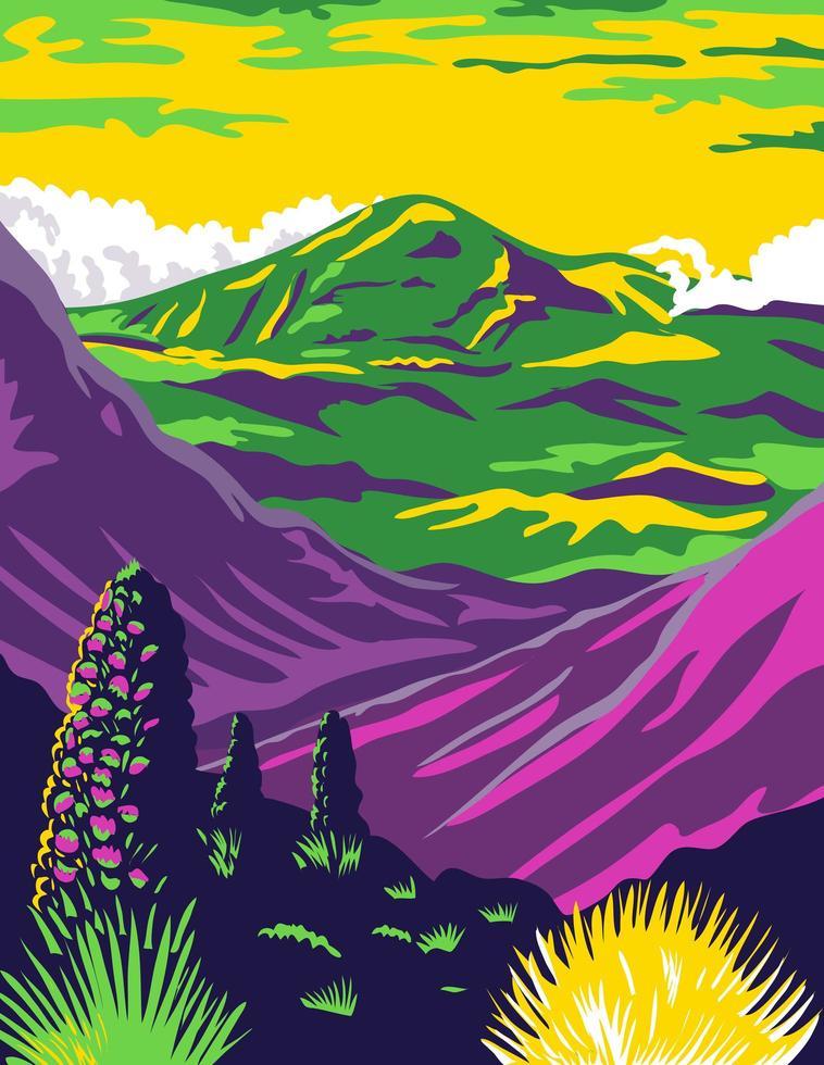 Haleakala National Park and Haleakala Volcano in Maui vector