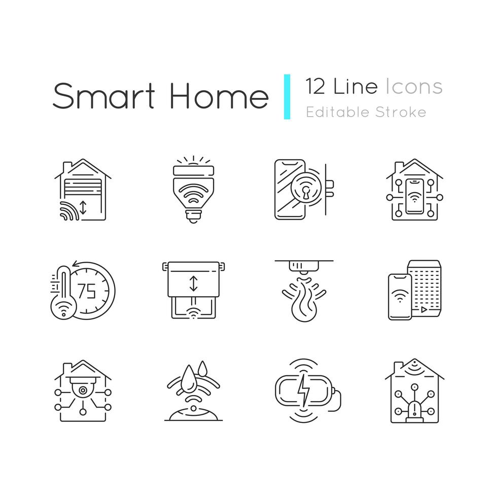 Smart house linear icons set vector