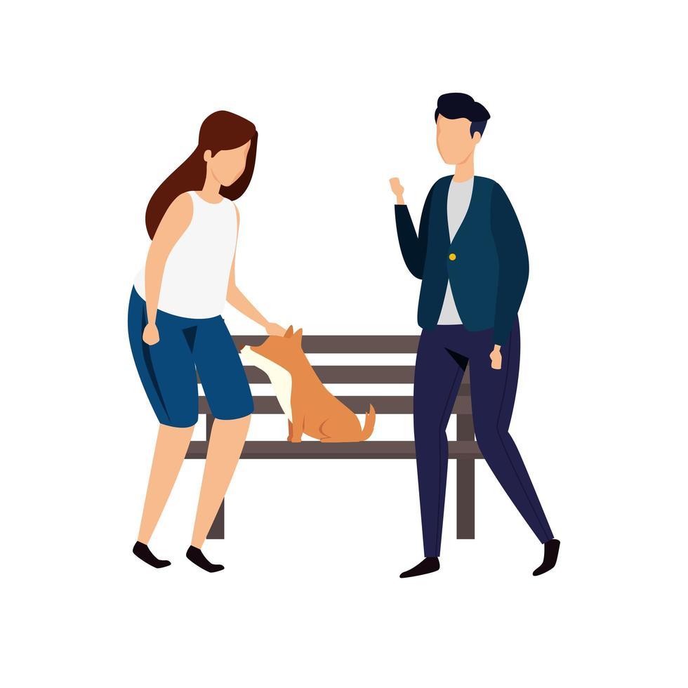 pareja, con, silla de madera, de, parque, y, perro vector