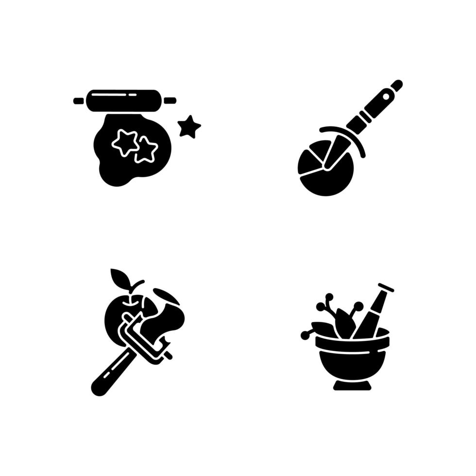 Kitchen utensils black glyph icons set on white space vector