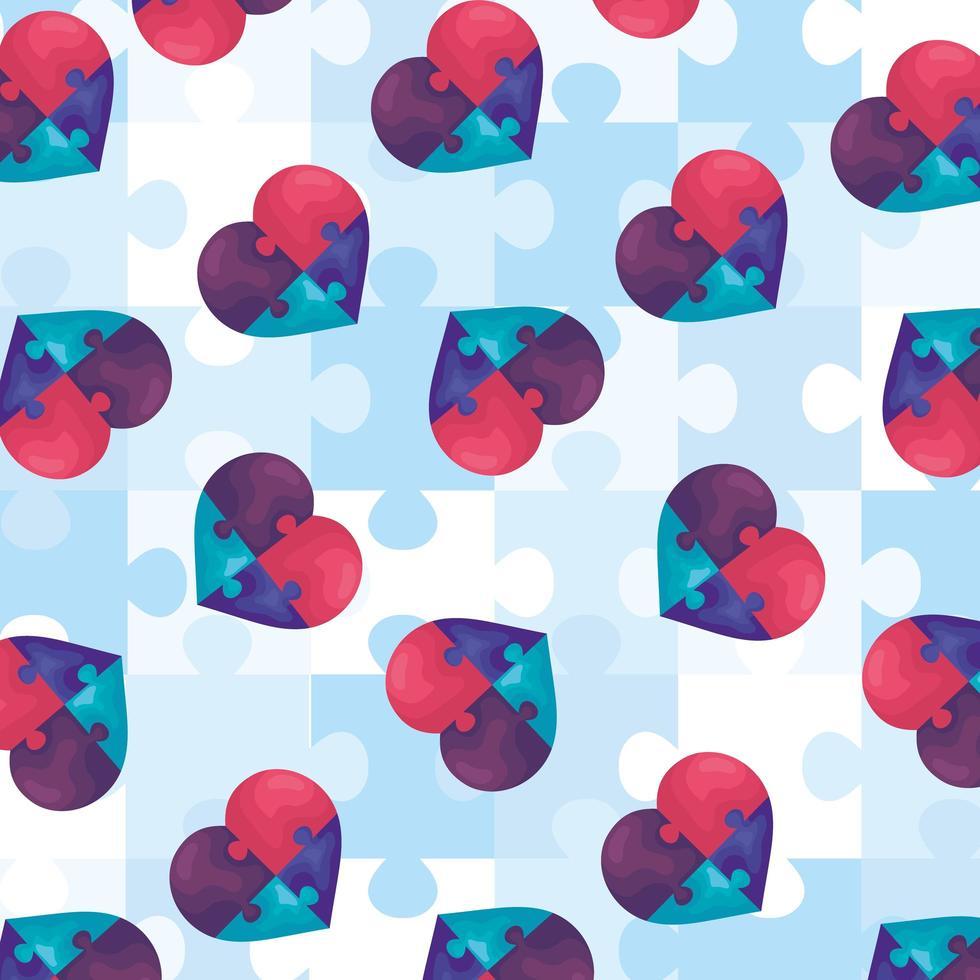 background hearts of puzzle pieces icon vector