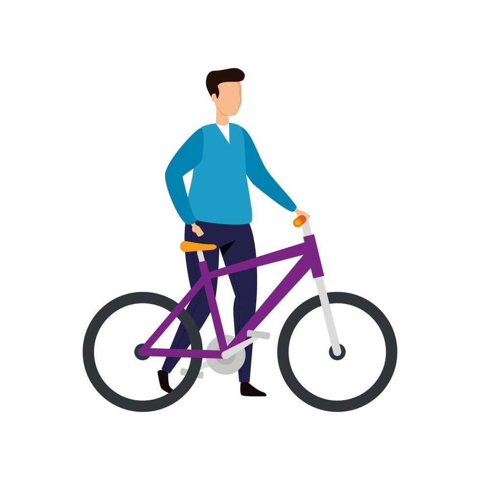 Hombre joven con icono de personaje de avatar de bicicleta vector