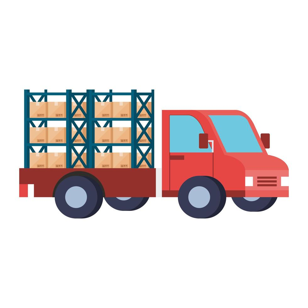 delivery service with truck and boxes vector