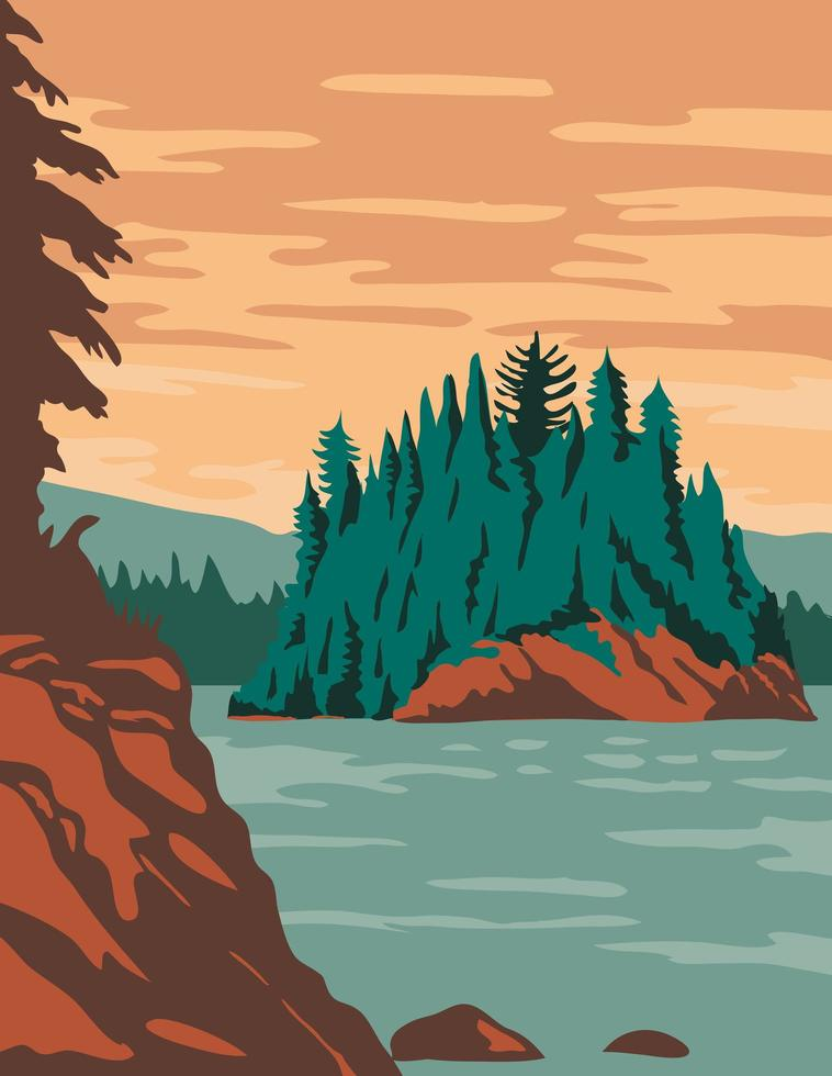 Isle Royale National Park and of islands in Lake Superior Michigan vector