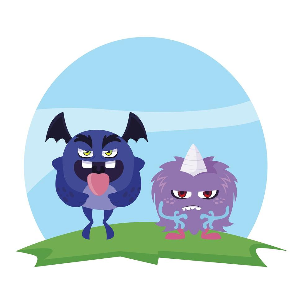 funny monsters couple in the field characters colorful vector