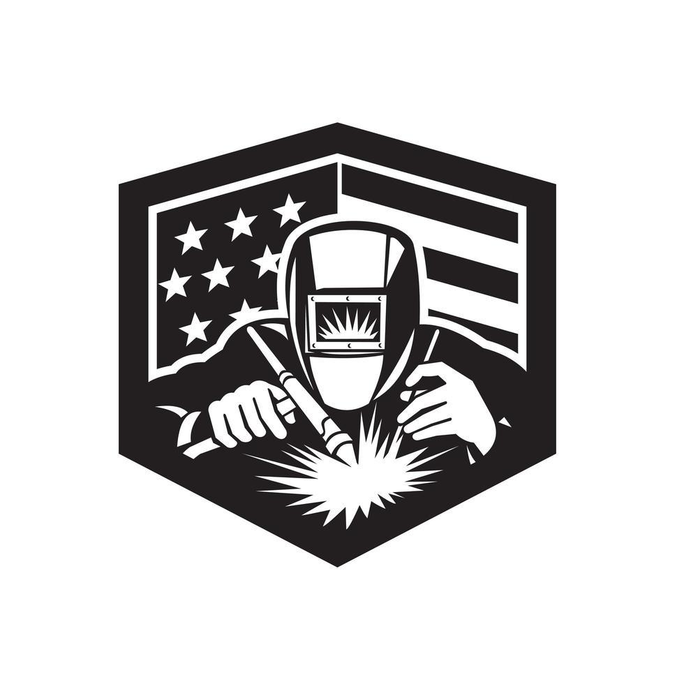 Welder Arc Welding USA Flag Crest Retro vector