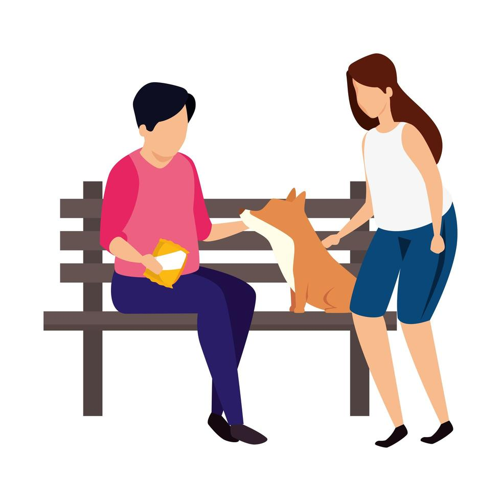 couple with wooden chair of park and dog vector