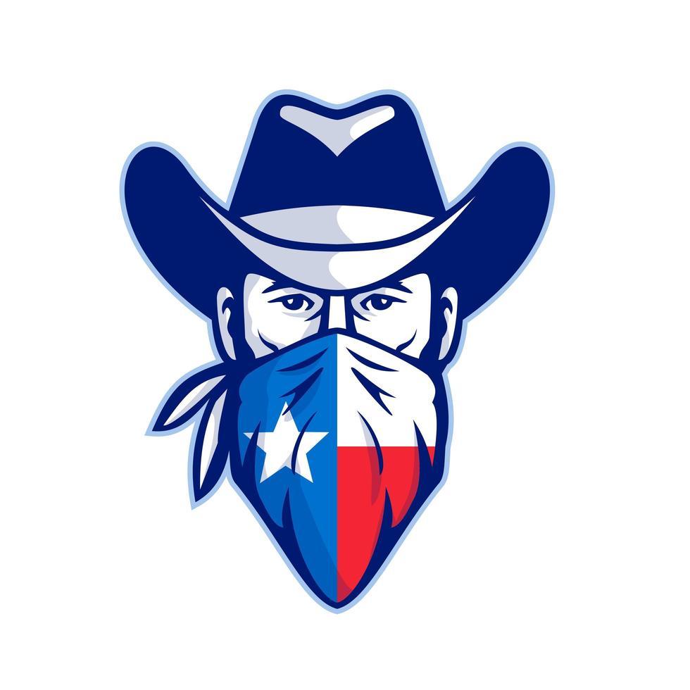 Texan Bandit Taxas Flag Bandana Mascot vector