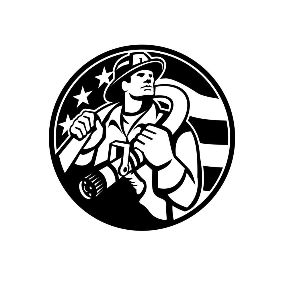 American Fireman Firefighter Carrying Fire Hose USA Flag Circle Retro vector
