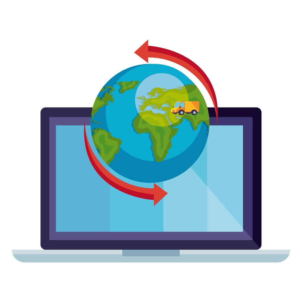 world planet earth with laptop and van logistic service vector