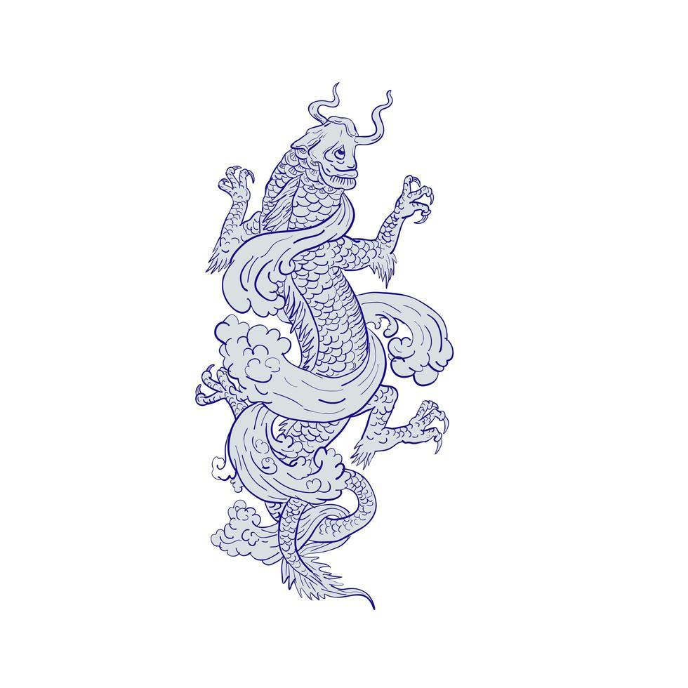 Koi Carp Transforming Into Dragon Tattoo Drawing vector