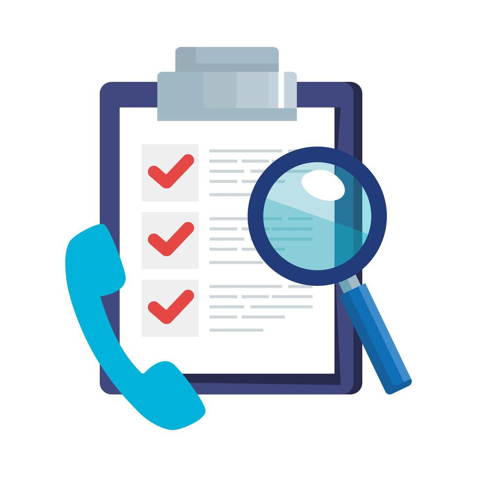 document with phone and magnifying glass vector
