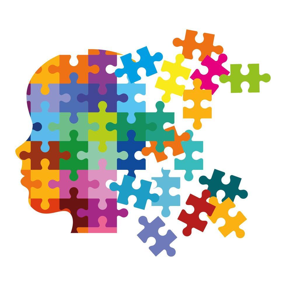 profile head with puzzle pieces vector