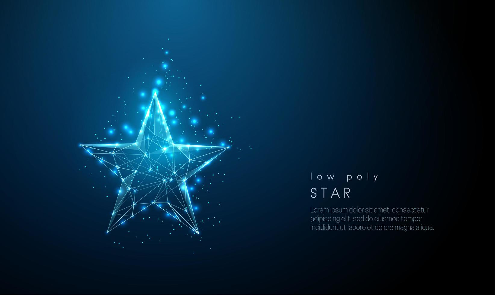 Abstract blue star. Low poly style design. vector
