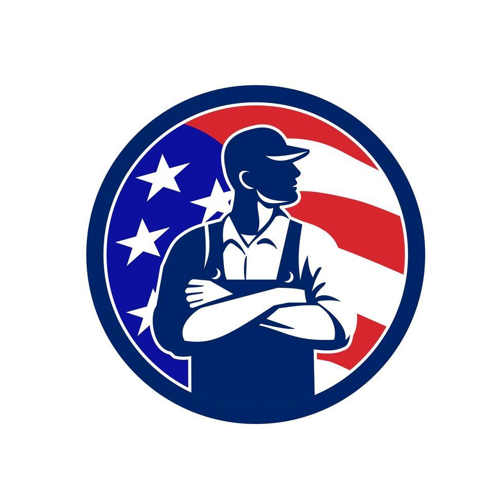 American Organic Farmer USA Flag Circle Retro vector