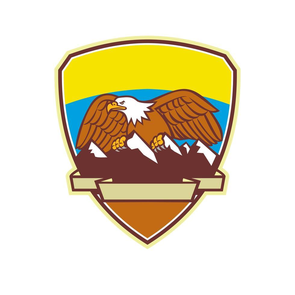 Eagle Perching Mountain Range Crest Mascot vector