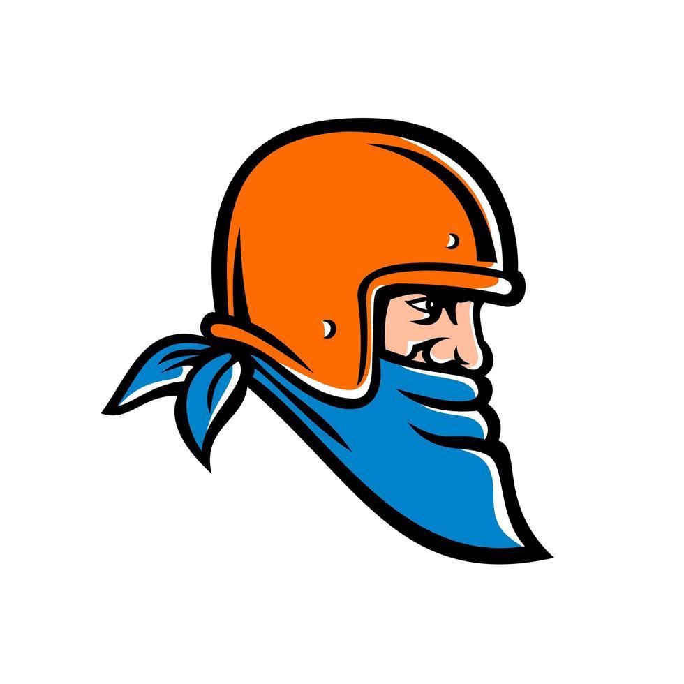 Bandit Biker Wearing Bandana and Helmet Mascot vector
