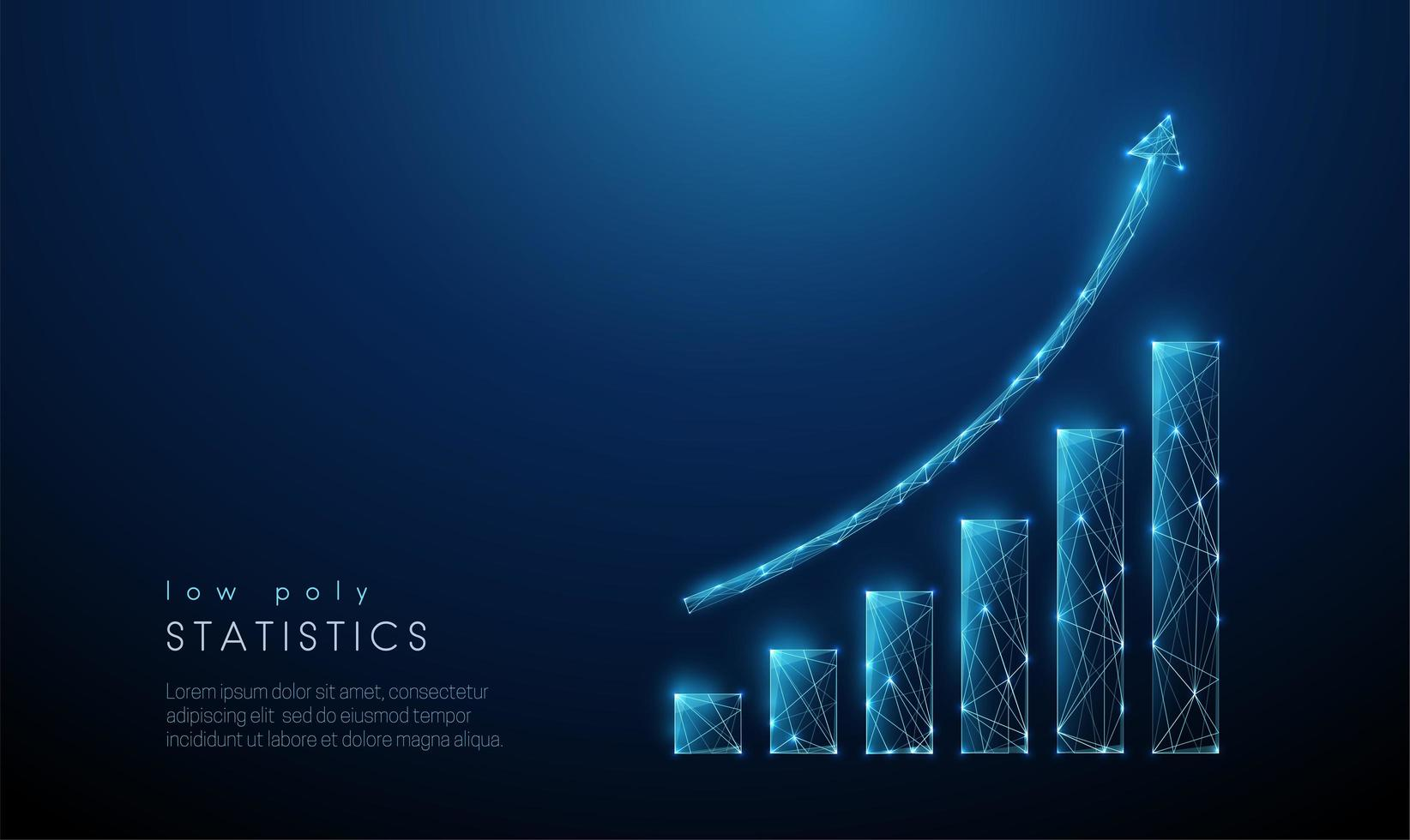 Abstract blue increasing chart. Low poly style design vector