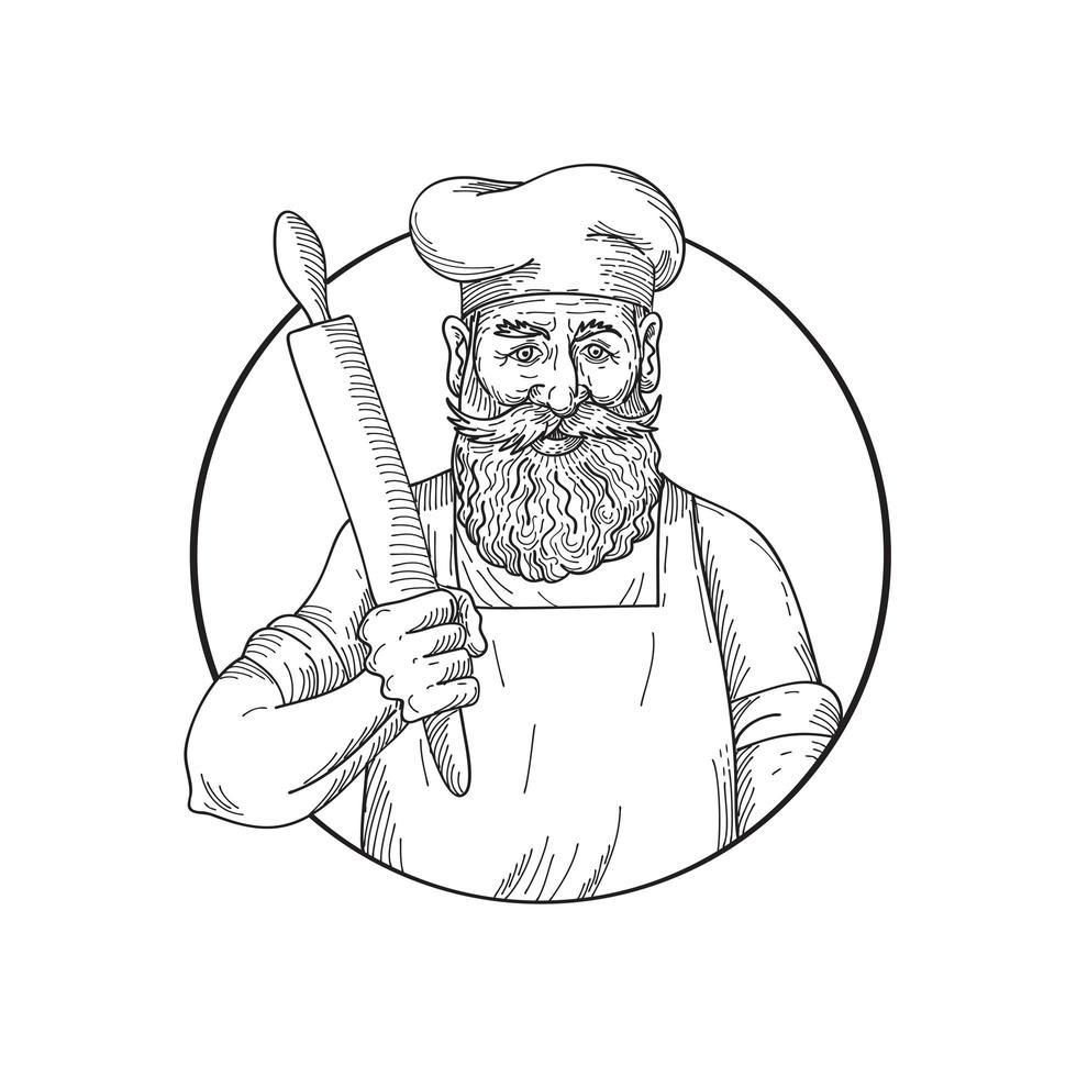 panadero hipster con barba completa sosteniendo un rodillo vector