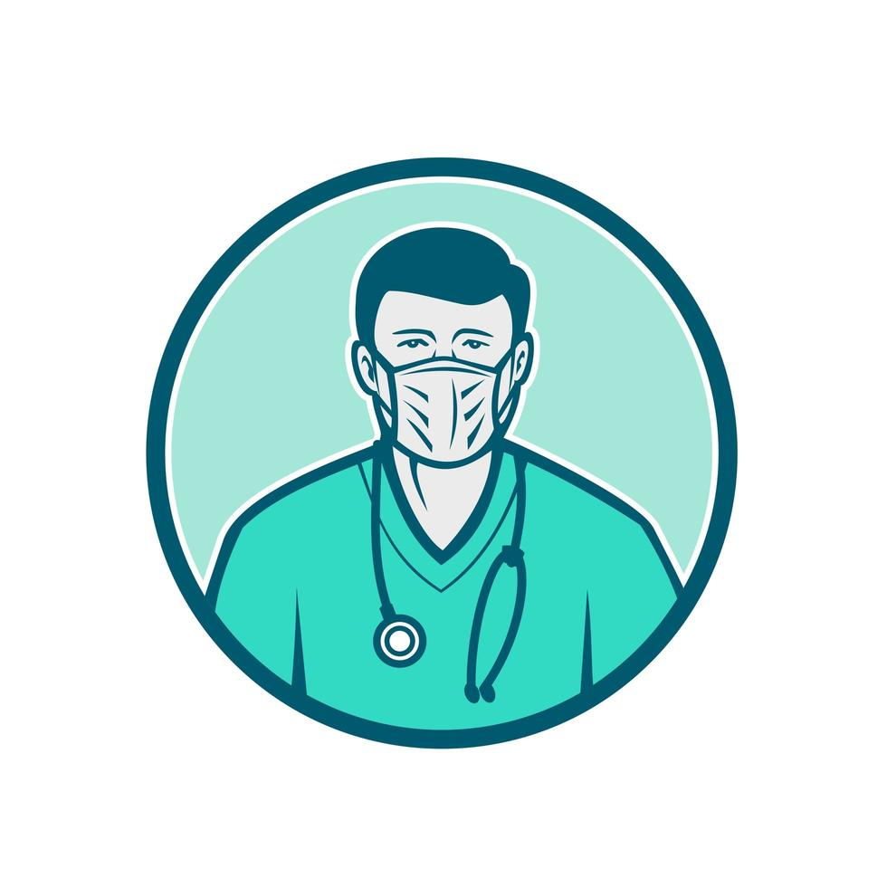 Male Nurse Wearing Surgical Mask Icon vector
