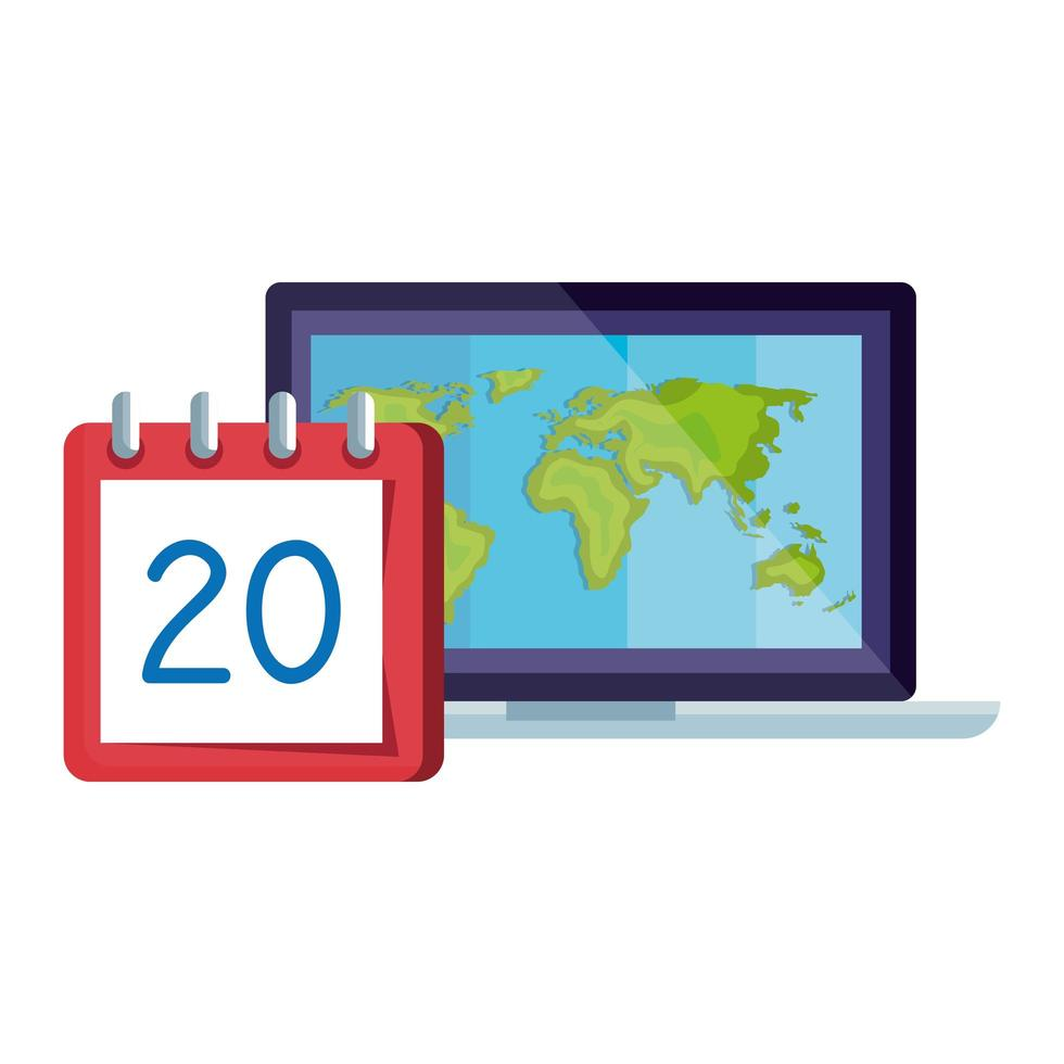 calendar reminder date with number twenty and laptop vector