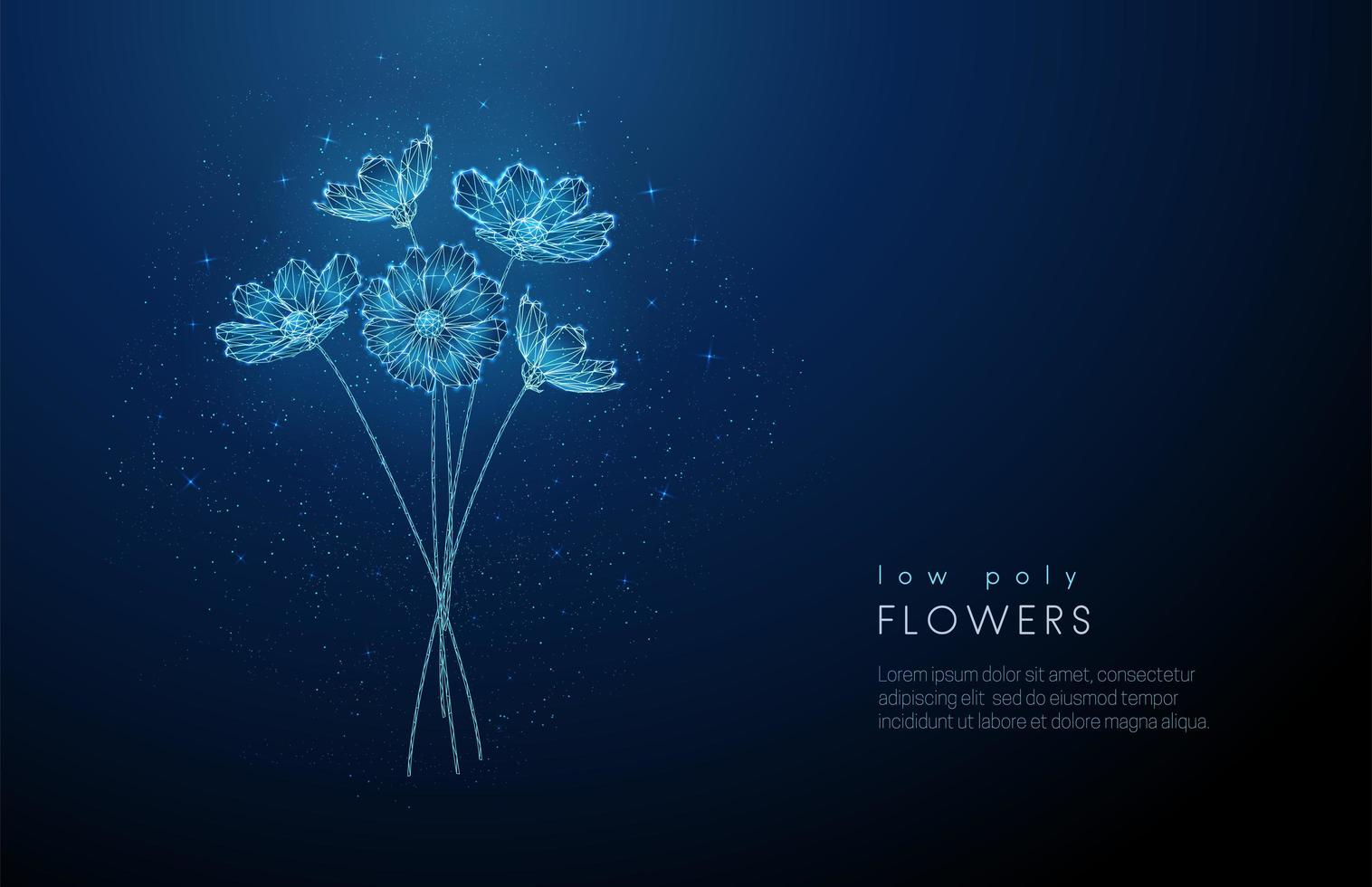 Abstract low poly blooming bouquet of flowers. vector