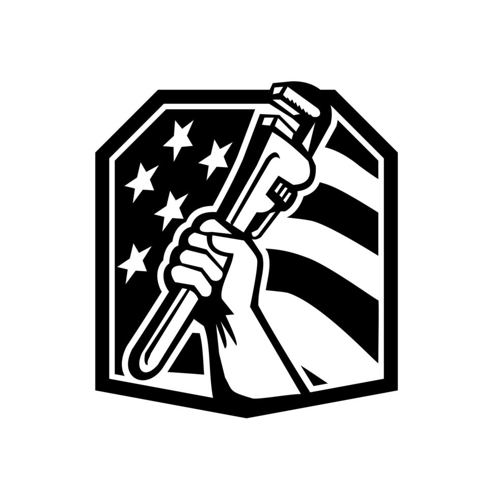 American Plumber Hand Holding a Pipe Wrench USA Flag vector