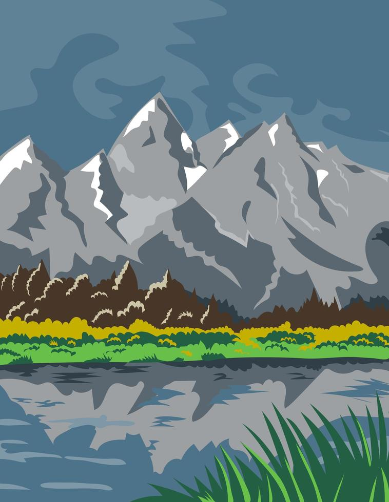 Grand Teton National Park Located in Jackson Wyoming vector