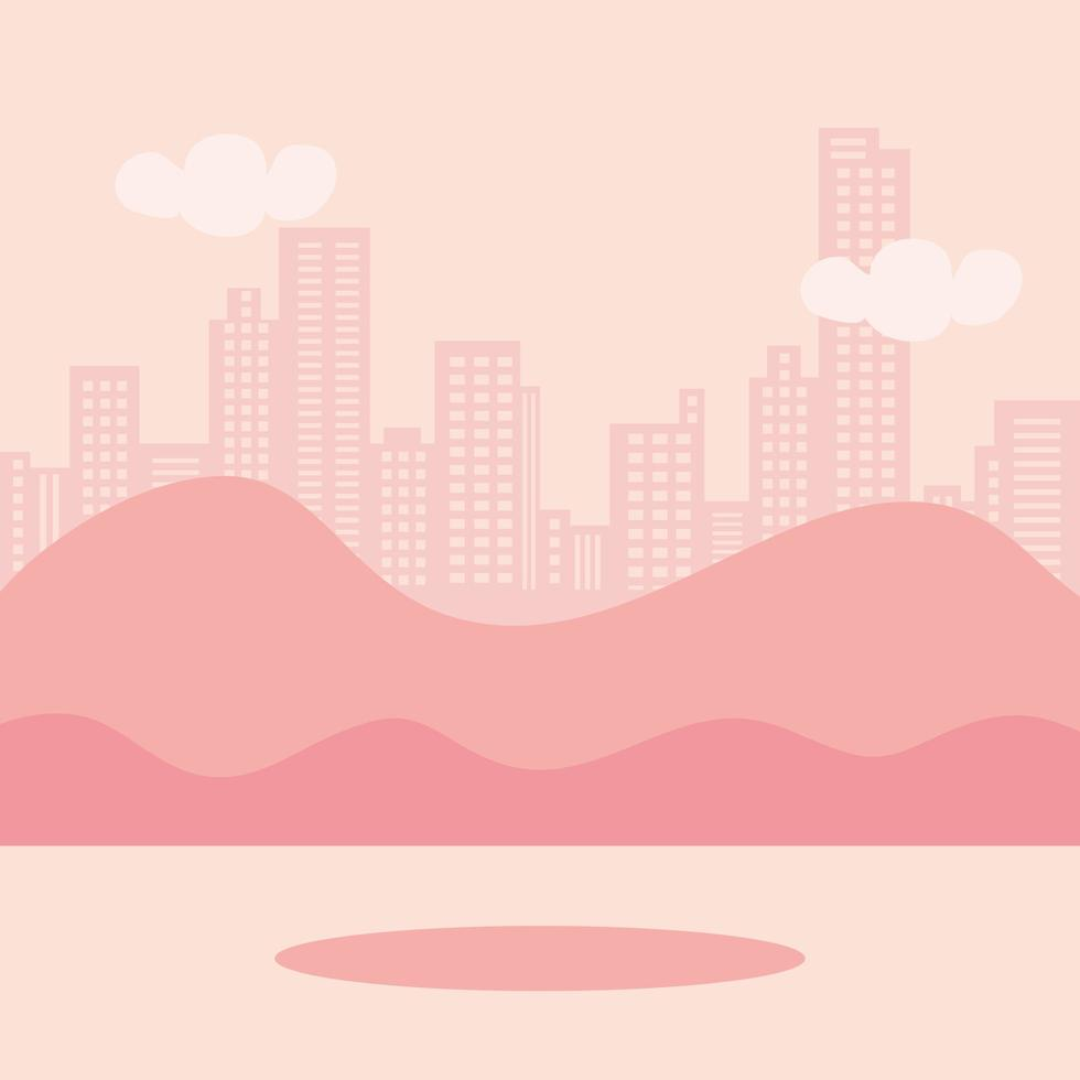 landscape with urban scene icons vector