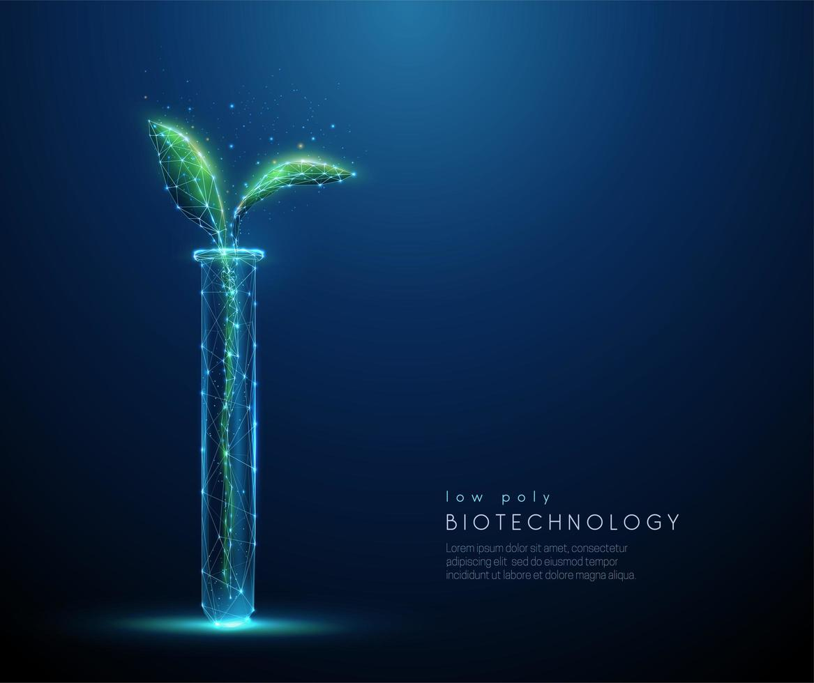 Green plant sprout in tube. Biotechnology concept vector