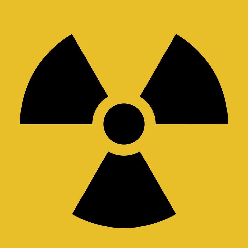 Vector radiation warning symbol, black and yellow