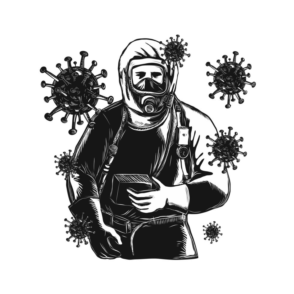 Coronavirus With Doctor Wearing Protective Suit Woodcut vector