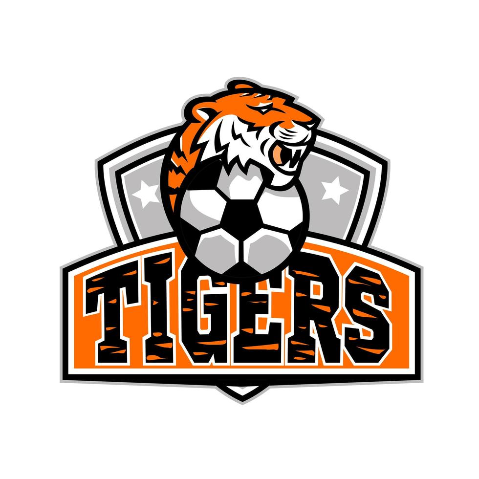 Tiger Soccer Football Ball Crest Mascot vector