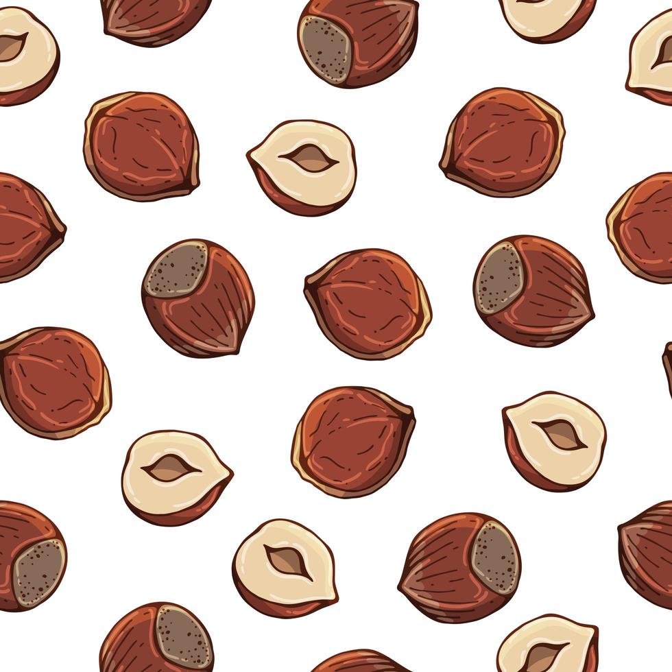 Pattern of vector illustrations on the nutrition theme set of hazelnuts. Realistic isolated objects for your design.
