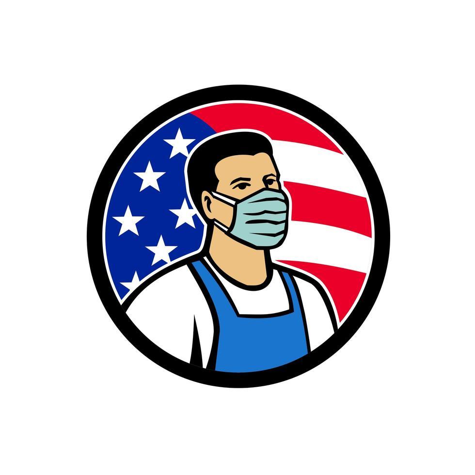 trabajador de alimentos americano como héroe icono de círculo de bandera de EE. vector