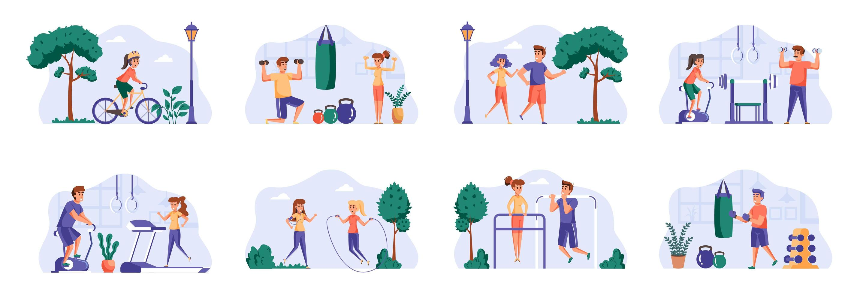 Fitness scenes bundle with people characters. vector