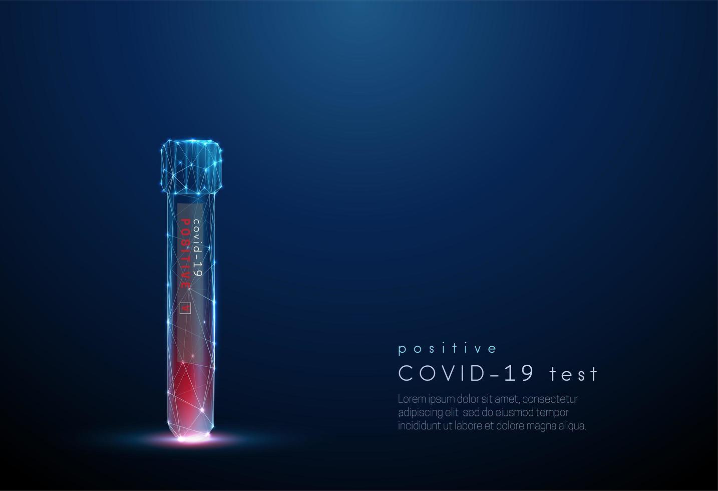 Blood test tube. Positive result coronavirus test vector