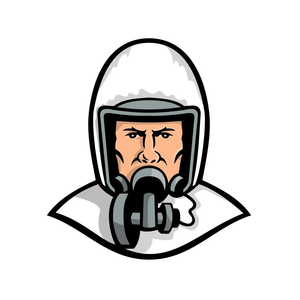 Medical Worker Wearing Face Mask Mascot vector