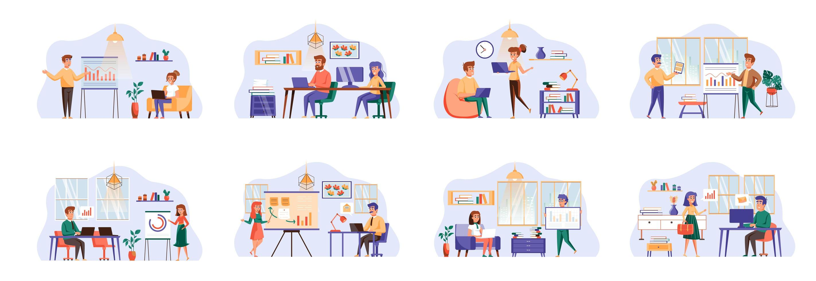 Content management bundle of scenes with flat people characters. vector