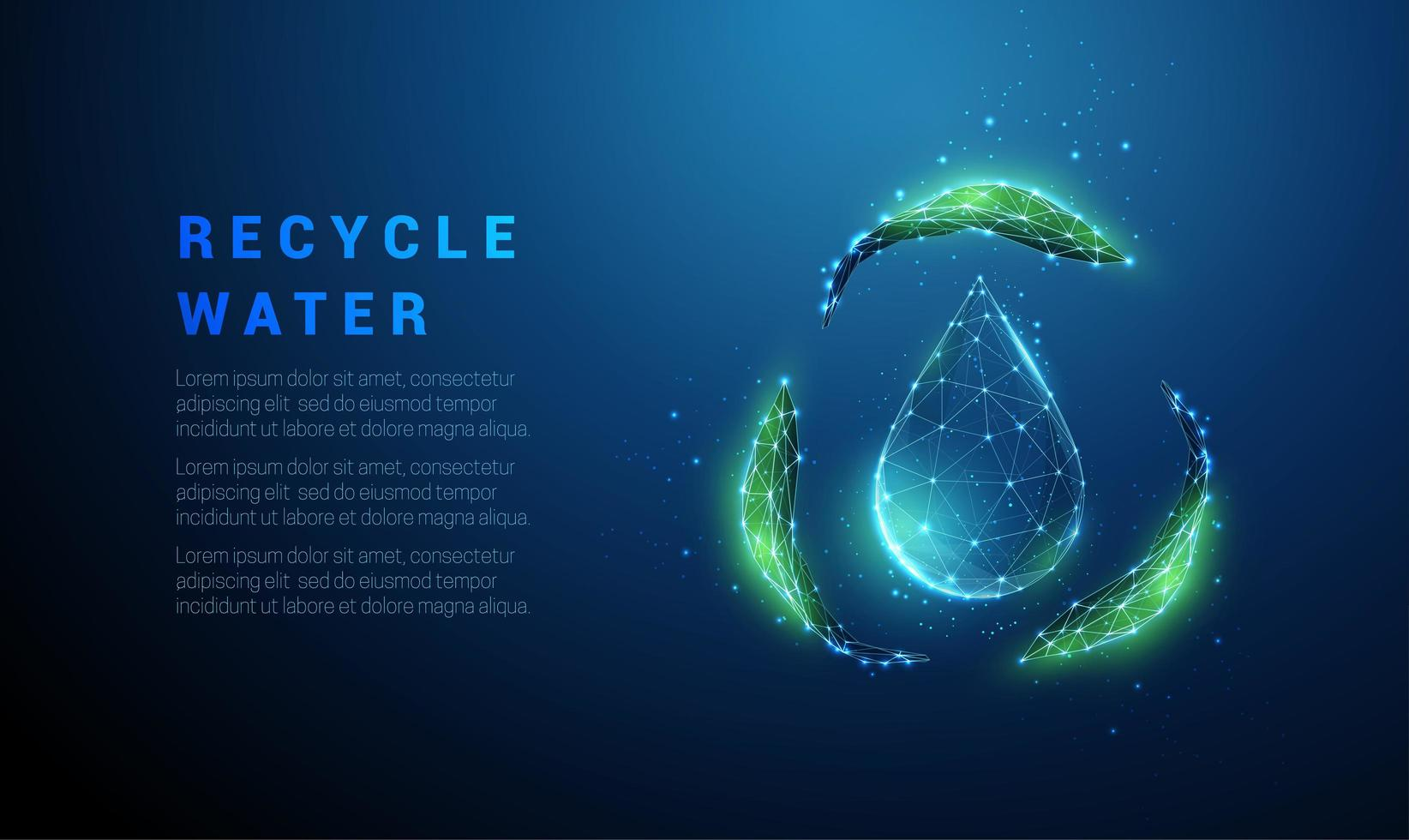 Falling drop of water with recycle symbol from green leafs vector