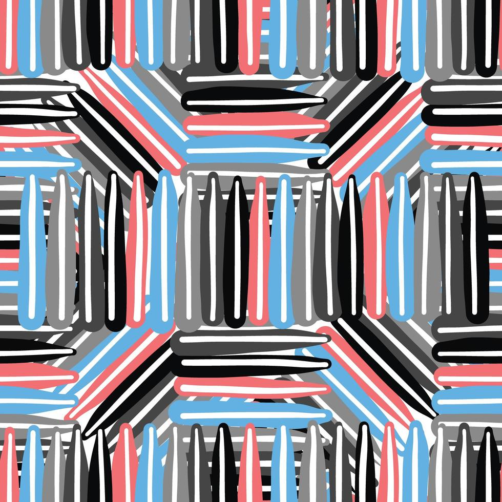 Vector seamless texture background pattern. Hand drawn, blue, red, grey, black, white colors.