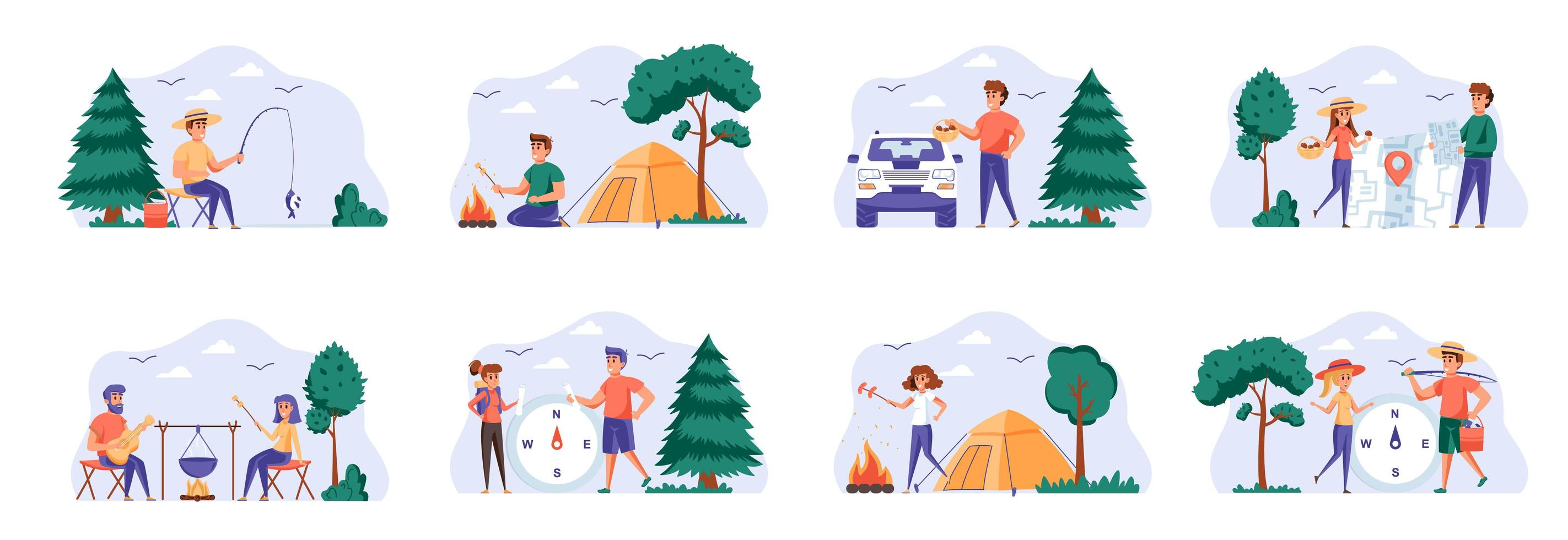 Camping scenes bundle with people characters. vector
