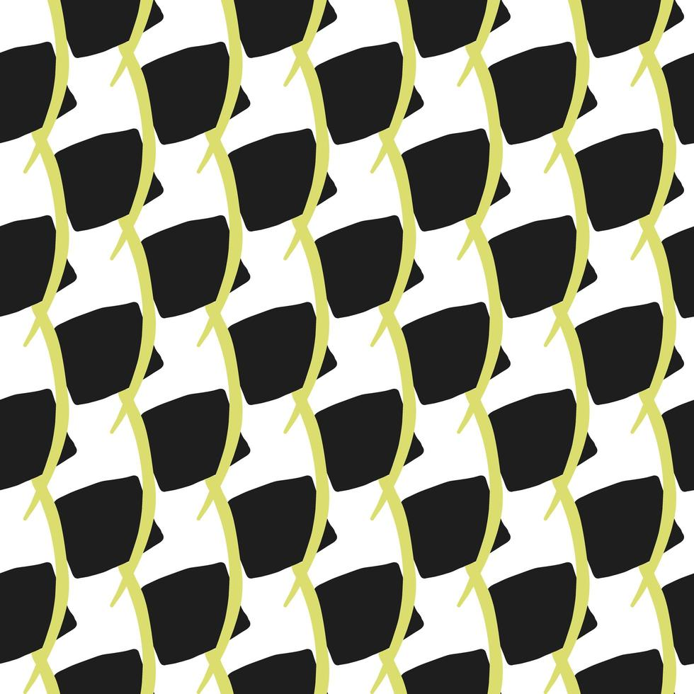 Vector seamless texture background pattern. Hand drawn, black, yellow, white colors.