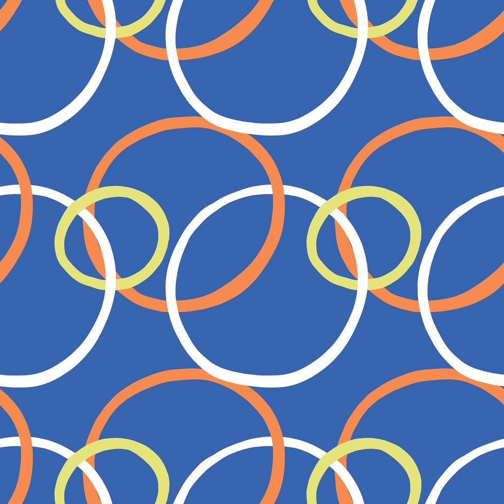 Vector seamless texture background pattern. Hand drawn, blue, orange, yellow, white colors.
