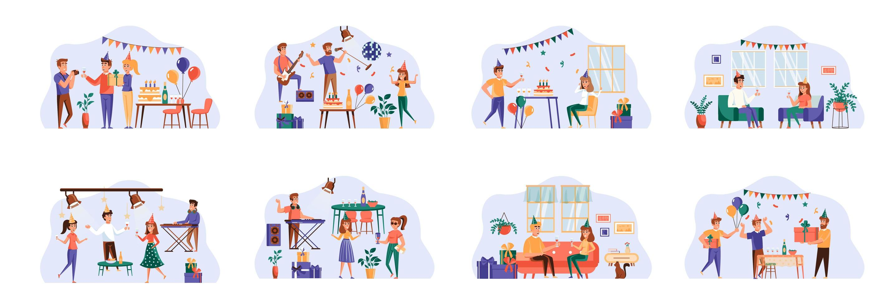 Party bundle of scenes with flat people characters. vector