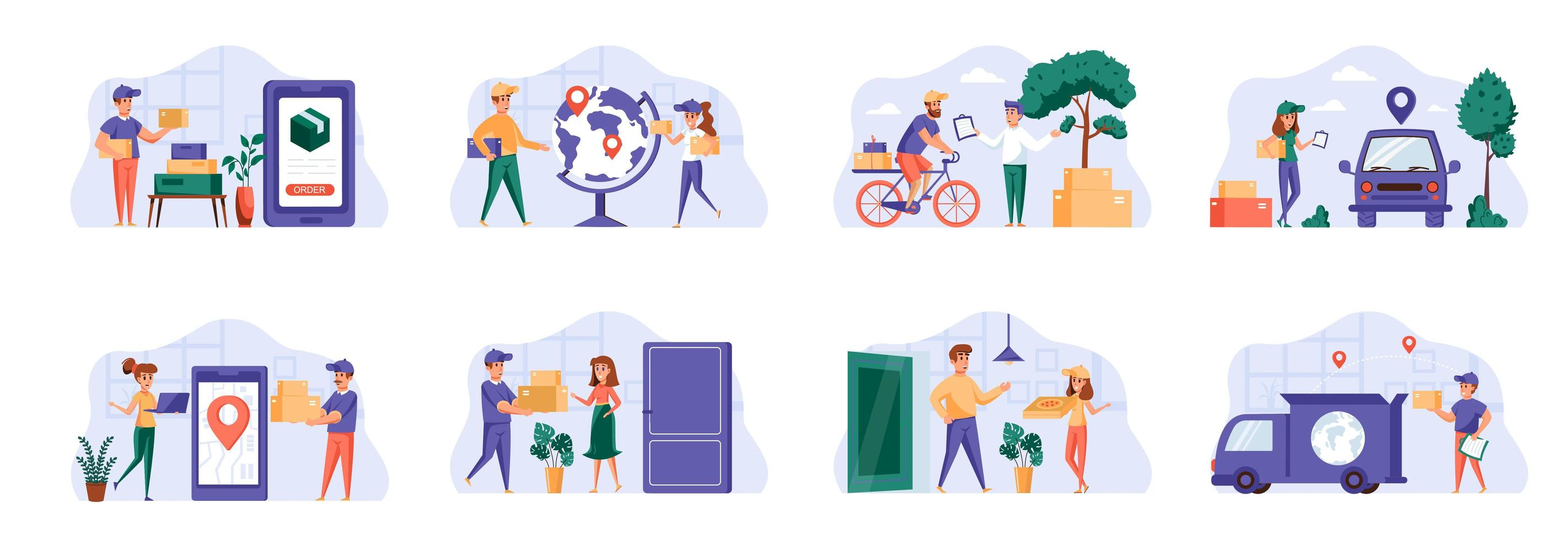 Delivery scenes bundle with people characters. vector