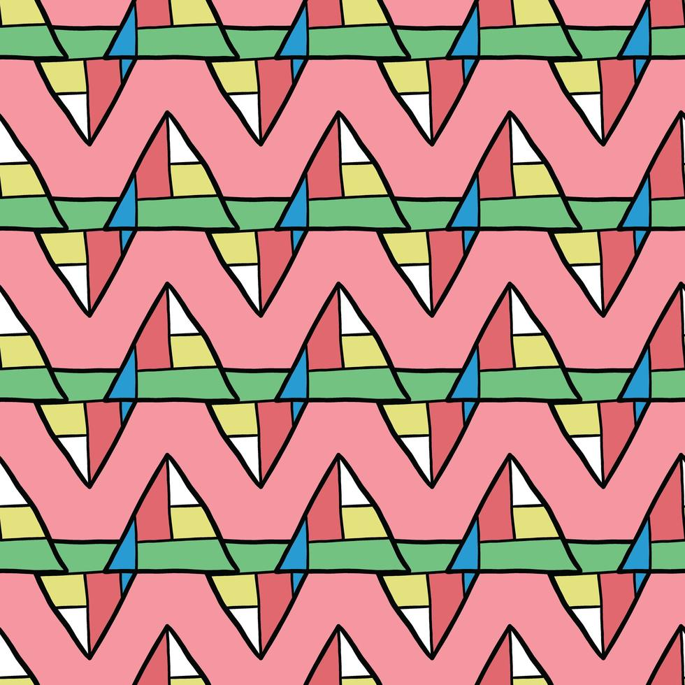 Vector seamless pattern, texture background. Hand drawn, colored, black outlined.
